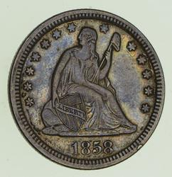 1858 Seated Liberty Silver Quarter - Circulated