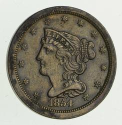 1854 Braided Hair Half Cent - Circulated