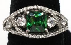 Green Garnet Sterling Silver Ring