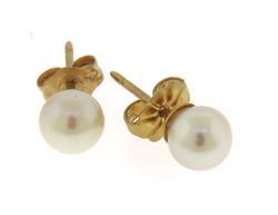 Simple 5mm Pearl Yellow Gold Stud Earrings