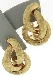 Beautiful Yellow Gold Textured Knot Earrings