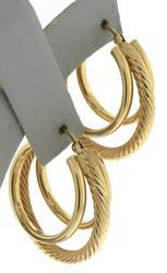 Gorgeous Yellow Gold Triple Hoop Earrings