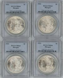4 Great Near Gem BU 1921 Morgan Dollars PCGS MS64