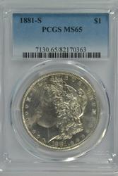 Gem BU 1881-S Morgan Silver Dollar. PCGS MS65