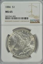 Solid Gem BU 1886 Morgan Silver Dollar. NGC MS65