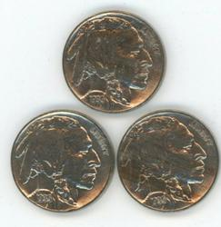 3 Nice BU 1935-P Buffalo Nickels. Full strikes
