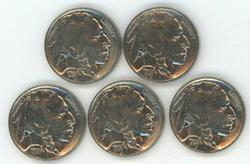5 Nice BU 1937 Buffalo Nickels. Fully struck