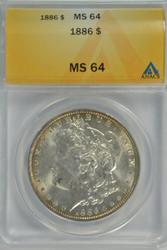 Near Gem BU 1886 Morgan Silver Dollar. ANACS MS64