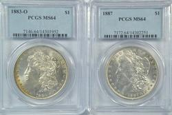 Near Gem BU 1883-O & 1887 Morgan Dollars. PCGS MS64's