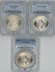 PCGS MS64 graded 1921, 1922 & 1923 US Silver Dollars