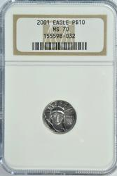 Rare perfect NGC MS70 graded 2001 $10 Platinum Eagle