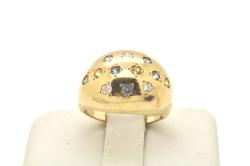 LADIES 14 KT YELLOW GOLD DIAMOND DOME RING