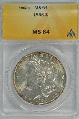 Near Gem BU 1886 Morgan Silver Dollar. ANACS MS64