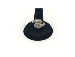 Eye Catching Sterling Silver Bypass Ring with White Gemstones