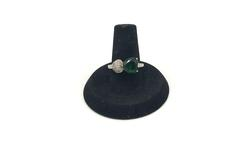 Sterling Silver Heart Shape Green Gemstone Ring