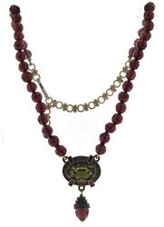 Heidi Daus Purple Beaded Necklace with Green CZ