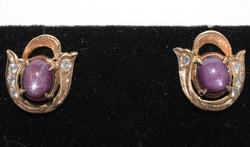 Vintage Star Ruby & Diamonds Earrings in 14KT Gold