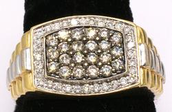 Mens Diamond Ring in Two Tone Gold
