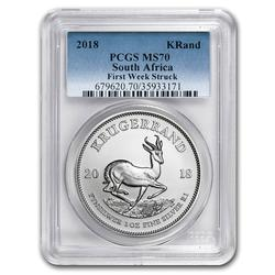 Certified 2018 South Africa 1oz Silver Krugerrand MS70