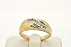 MENS 14 KT YELLOW AND WHITE GOLD DIAMOND BAND