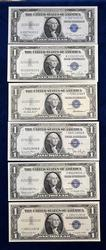 6 MISC. SILVER CERTS ALL NOTES CRISP UNCIRCULATED