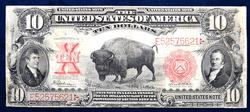 $10.00  1901 BISON NOTE  FR# 122   REPAIRED