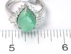 Fabulous Pear Shaped Emerald & White Sapphire Sterling Ring