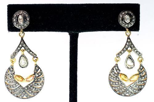Very Unique & Gorgeous Diamond & Topaz Earrings