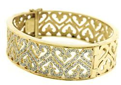 Fantastic Wide Diamond GHeart Bangle Bracelet
