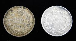 2 Canada Silver 10 Cent Coins, 1918 & 1929