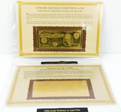 2 22KT Gold Foil Replica US Currency Notes