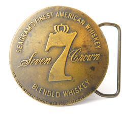 Seagram's Seven Crown Whiskey Brass Belt Buckle