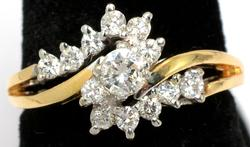 0.45CTW Vintage 13  Diamond Ring in 14KT Yellow Gold