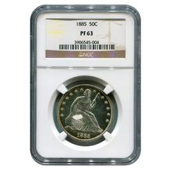 Certified Seated Liberty Half Dollar 1885 PF63 NGC