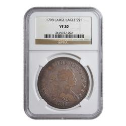 Certified Bust Dollar 1798 Large Eagle VF20 NGC