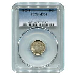 Certified Barber Dime 1905-S MS64 PCGS