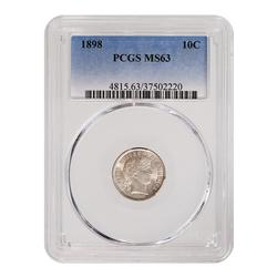 Certified Barber Dime 1898 MS63 PCGS