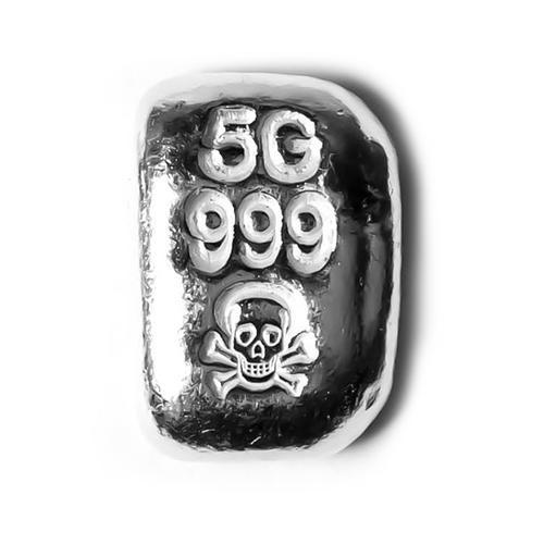5 Gram Atlantis Skull and Crossbones Hand Poured Silver Bar