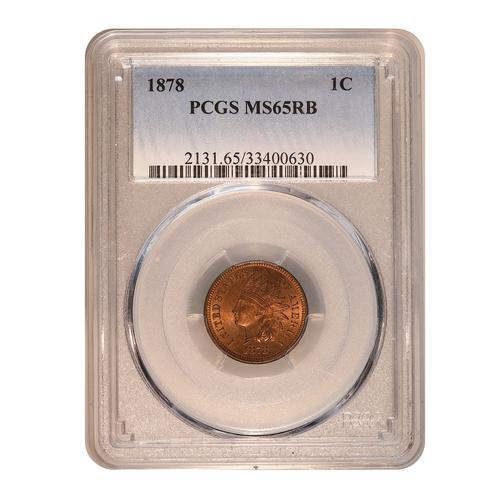 Certified Indian Head Cent 1878 MS65RB PCGS
