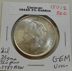 1944-D Curacao Silver 2-1/2 Gulden, GEM Uncirc, WW2