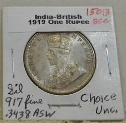 1919 India-British Silver 1 Rupee, Choice Uncirculated