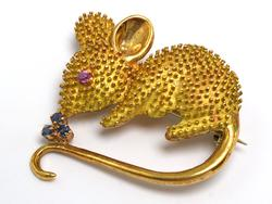 18KT Yellow Gold Mouse Pin w/ Ruby & Sapphire Accents