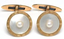 Pearl & MOP Cuff Links in 14KT Yellow Gold