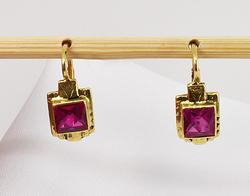 Stately Square Cut Ruby Earrings in 14K YG