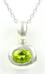 Sterling Silver Peridot Pendant & 24 IN Chain