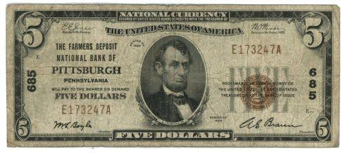 1929 Series $5 National of Pittsburgh, PA (568)
