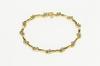 14K Yellow Gold 1.56 Ctw Floral Diamond Cluster Wavy Tennis Bracelet