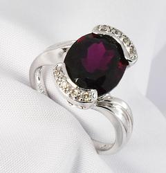 Stately Garnet and Diamond Ring in 14K WG