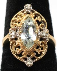 Vintage Aquamarine & Diamond Ring, 14KT