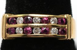 Excellent Ruby & Diamond Band Ring, 14KT